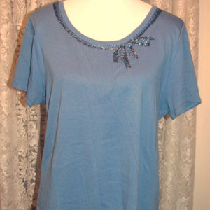 SOFT BLUE Beaded Front Linen Rayon Tee TOP Size XL